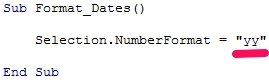 VBA code example formats dates as yy