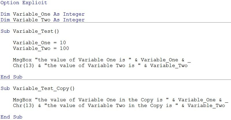 Worksheets Vba Sample Declaration Of Multiple Choice Worksheet Pdf define variables in vba declare and assign them expressions how to module only variables