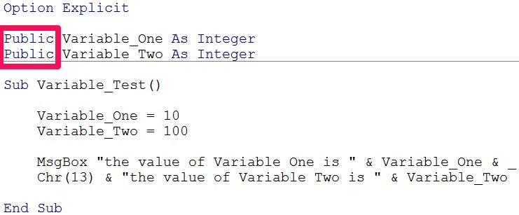 Declaration of public variable in VBA