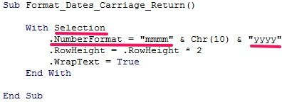 VBA code to format date with previously explained sections