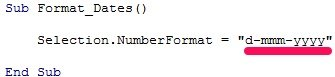 Example of VBA code to format dates as d-mmm-yyyy