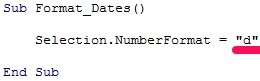 VBA code to format date as d