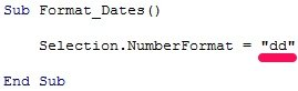 VBA code sample to format date as dd