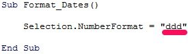 VBA code that formats date as ddd