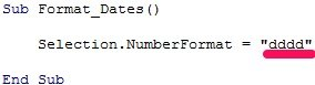 VBA code sample to format date as dddd