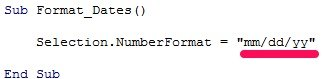 VBA code formats date as mm/dd/yy