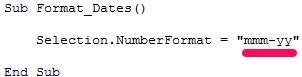 VBA code example formats dates in form mmm-yy