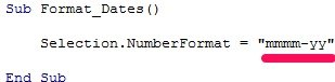 Example of VBA code that formats dates as mmmm-yy