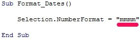 VBA code to format date as mmmm