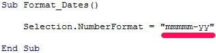 VBA code to format date as mmmmm-yy