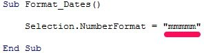 VBA code to display first day of month name