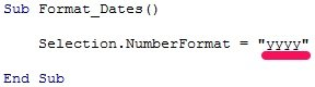 VBA code to format date and display full year