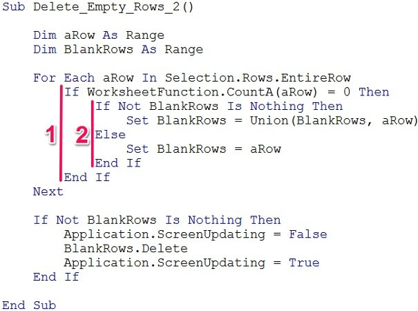 Example of If... Then... Else nested statements in VBA
