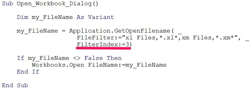 vba open workbook default filterindex