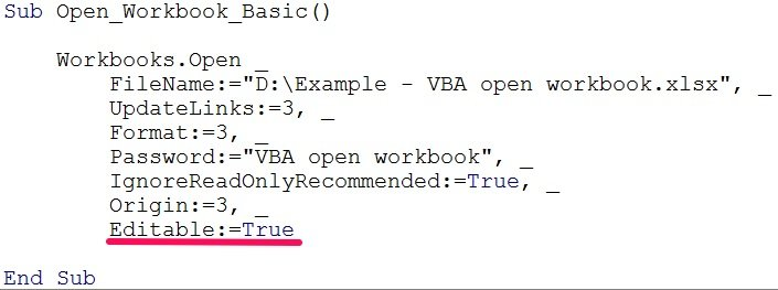 vba open workbook editable