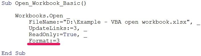 vba open workbook format 2