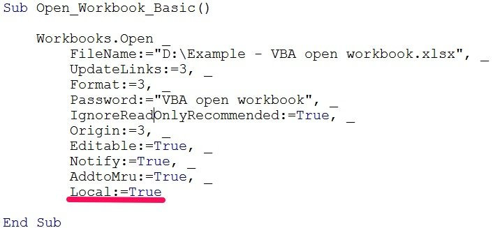 vba open workbook local