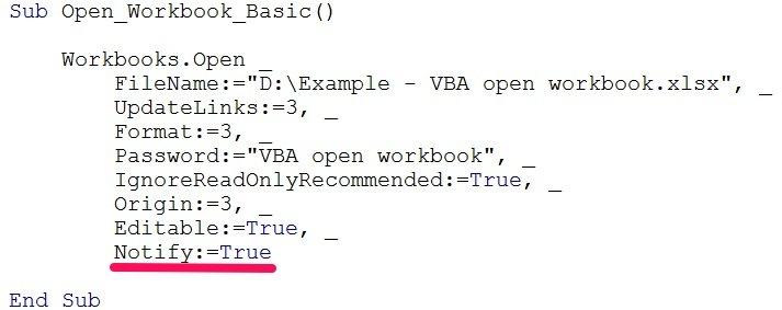 vba open workbook notify