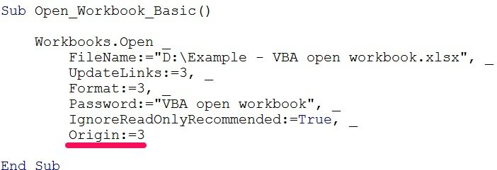 vba open workbook origin