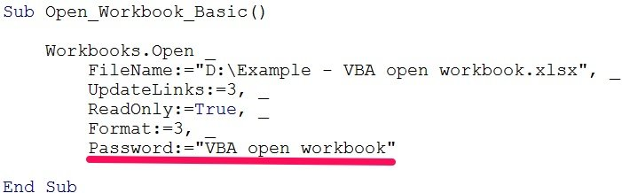 vba open workbook password