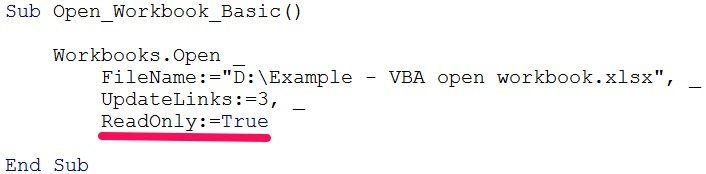 vba open workbook read only