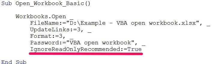 vba open workbook readonlyrecommended