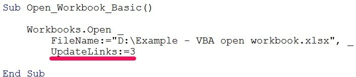 vba open workbook updatelinks