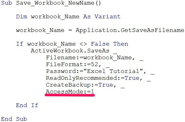 VBA Sub procedure with Workbook.SaveAs and AccessMode