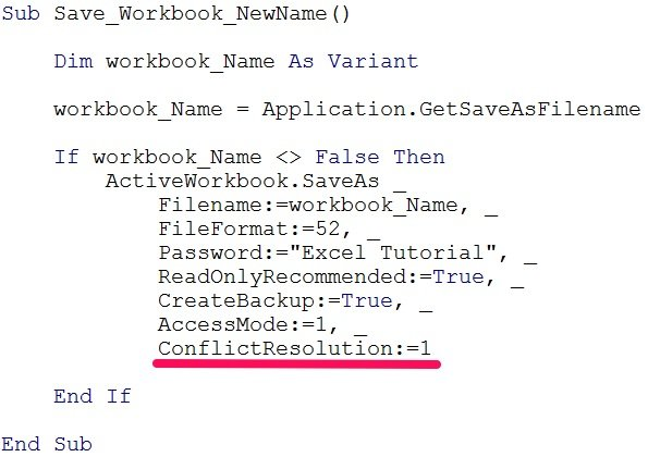 Example VBA code with ConflictResolution when saving