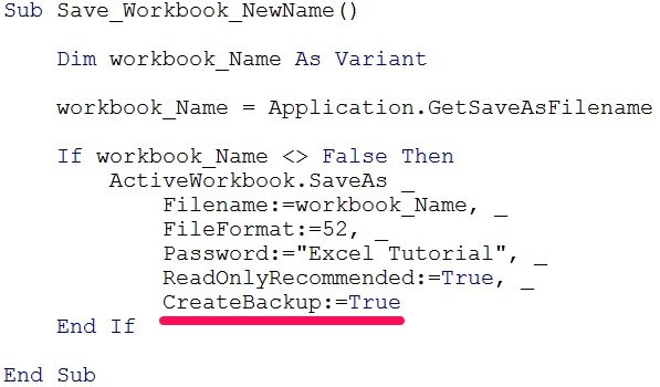 VBA code saves workbook and creates backup
