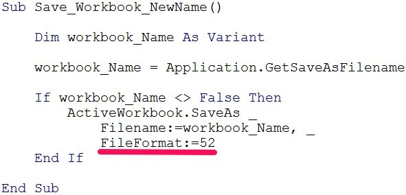 VBA code saves workbook with FileFormat argument