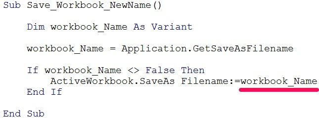 VBA code saves workbook with Filename argument