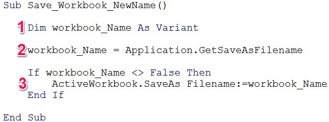 Save workbook VBA code with sections