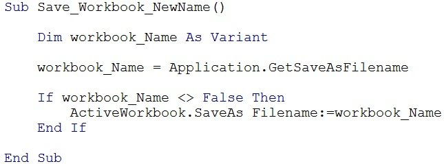 VBA code with ActiveWorkbook.SaveAs