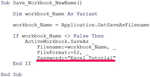VBA code to save workbook with Password argument