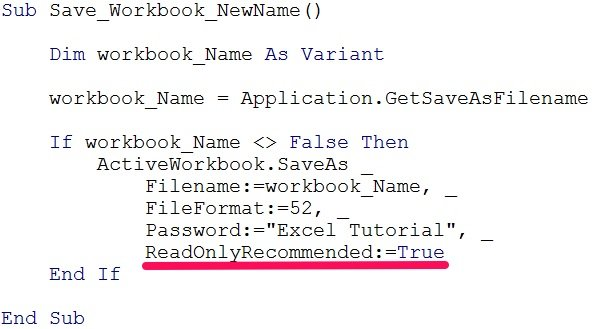 VBA code to save workbook with ReadOnlyRecommended