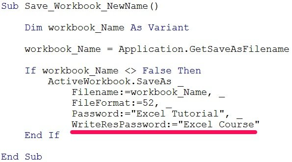 VBA code to save workbook with WriteResPassword
