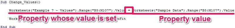 Example macro to set value property