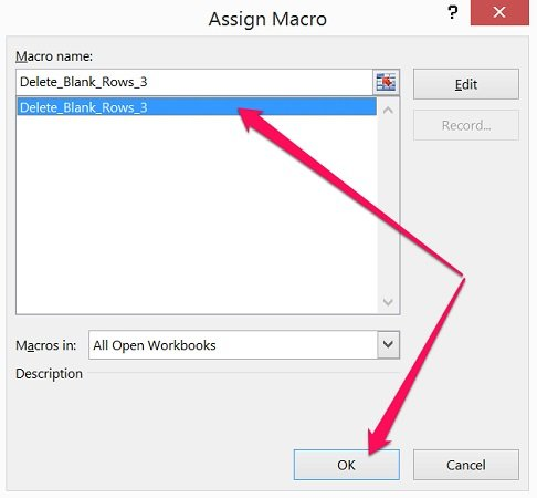 Assign VBA Sub procedure dialog with selected macro