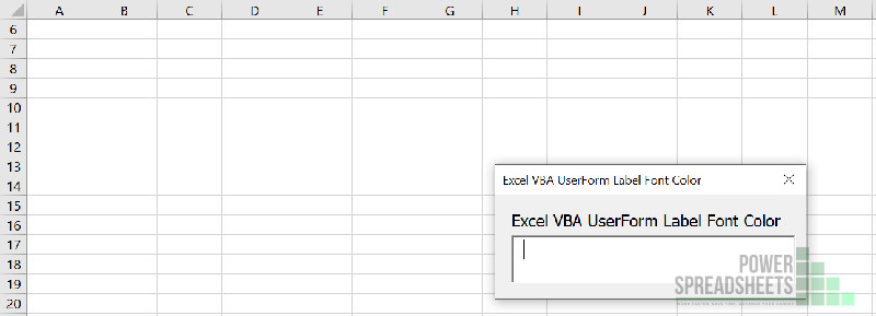 Example Excel UserForm for VBA Label Font Color