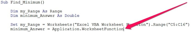 VBE between WorksheetFunction object and Min method