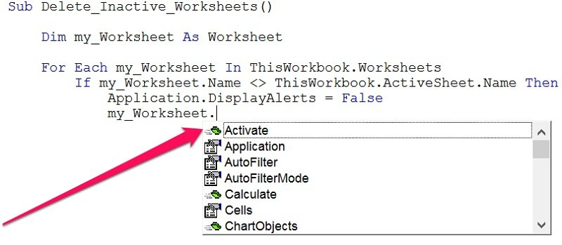 VBA object method list displayed by VBE