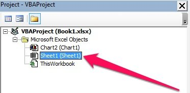 Worksheet Module in Project Window