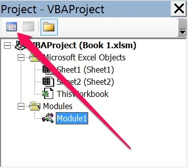 View code button in Project Explorer