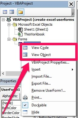 Right-click > View Code, View Object