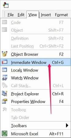 How to hide or unhide the Immediate Window