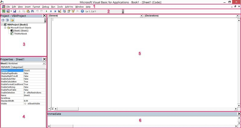 Visual Basic Editor layout