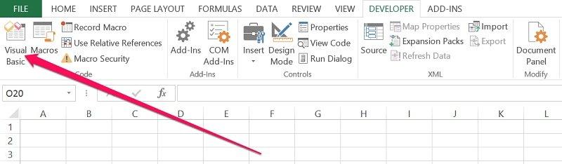 Visual Basic icon in Developer tab