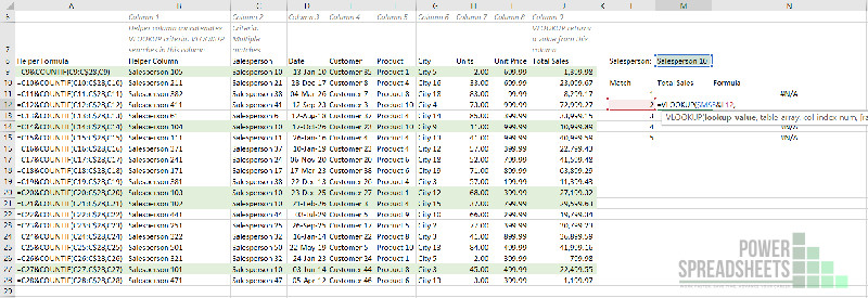 Example: Unique lookup value for second VLOOKUP to return multiple values (with a helper column) formula