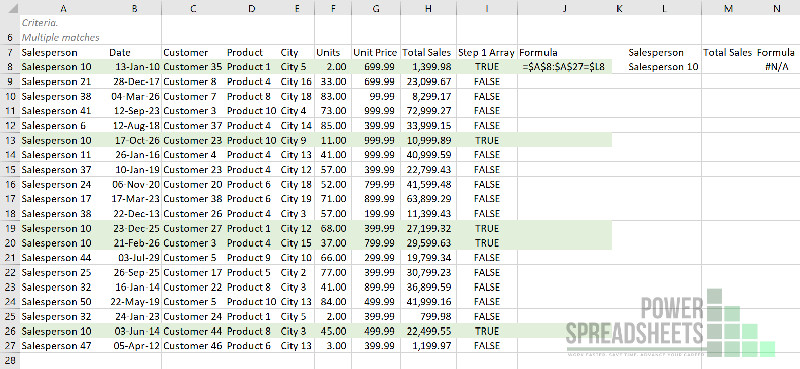 Example: Set of VLookup test to return multiple values in one cell separated by a comma